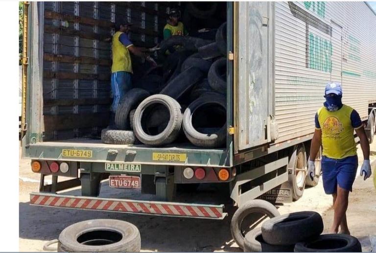 Prefeitura de Campina Grande destina pneus usados para empresa de reciclagem do Estado de São Paulo
