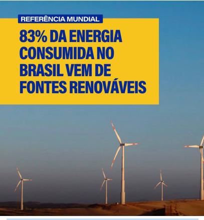 Brasil é referência mundial na produção de energia de fontes renováveis.